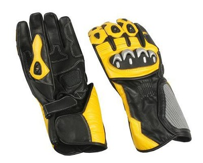 Mens Black / Yellow Leather Riding Gloves w Armored Knuckles