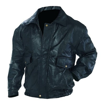 Mens Roman Rock Design Black Leather Bomber Jacket
