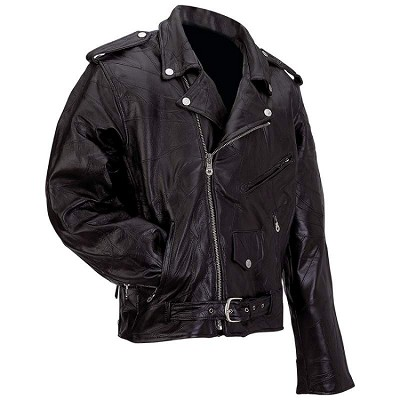 Mens Basic Water Buffalo Leather Motorcycle Biker Jacket