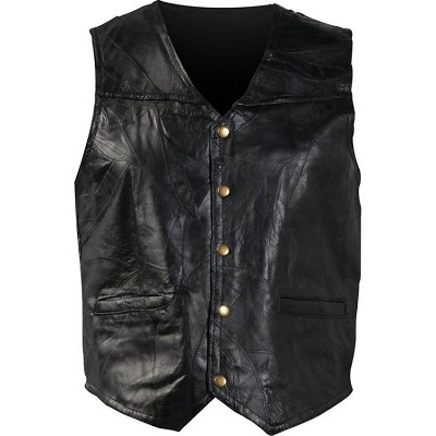 Unisex Mens Womens Basic Black Leather Motorcycle Biker Vest