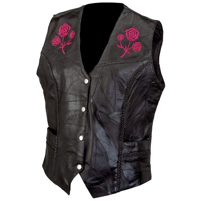 Ladies' Black Leather Motorcycle Vest with Embroidered Roses