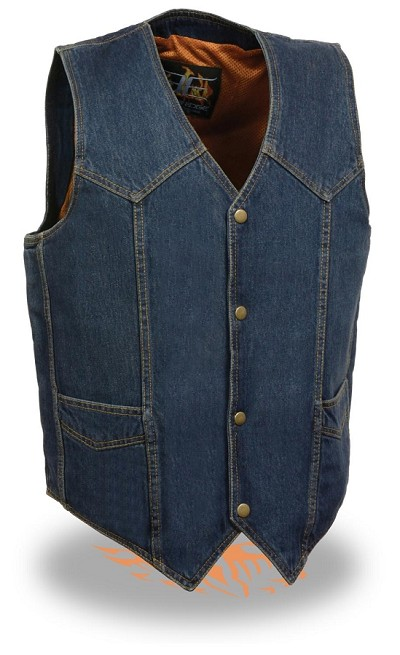 Mens Classic Front Snap Blue Denim Vest