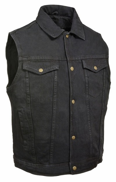 Mens Classic Front Snap Black Denim Vest with Shirt Collar