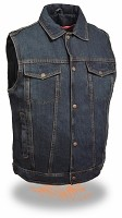 Mens Classic Front Snap Blue Denim Vest with Shirt Collar