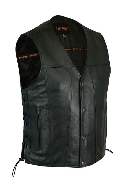 Mens Single Back Panel Black Leather 4 Snap Vest with Side Lace