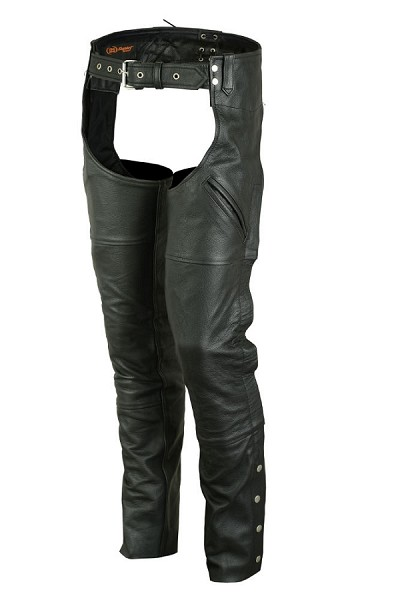 Unisex Black Leather Deep Pocket Unisex Chaps