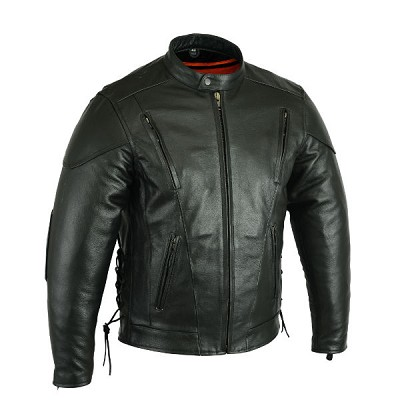 Mens Economy Black Leather Sporty Scooter Jacket w Zipout Liner, Only Size 46, and one size 64 Left!