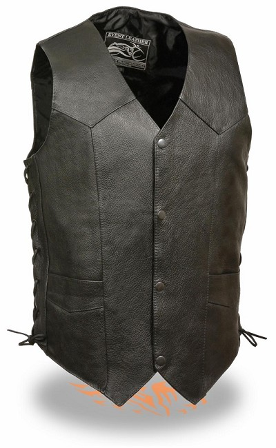 Mens Black Leather Classic 4 Snap Biker Vest Side Lace