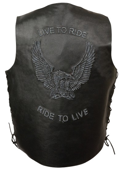 "Mens Black Solid Leather ""Live to Ride"" Eagle Embossed Vest, Side Lace"