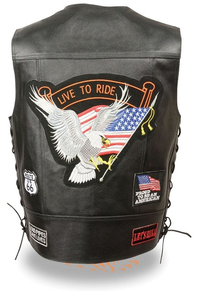 "Mens Solid Leather ""Live to Ride"" Eagle Vest w 9 Patches, Side Lace"