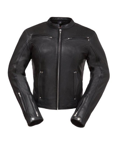 Ladies Black Leather Scooter Jacket w Vents, Mandarin Collar