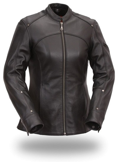 Womens Long Black Leather Sexy Hourglass 3/4 Jacket Zip Out Lining - Last in 3X