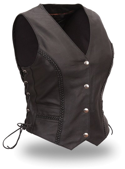 Womens Ladies Black Leather Braided Motorcycle Vest Side Lace