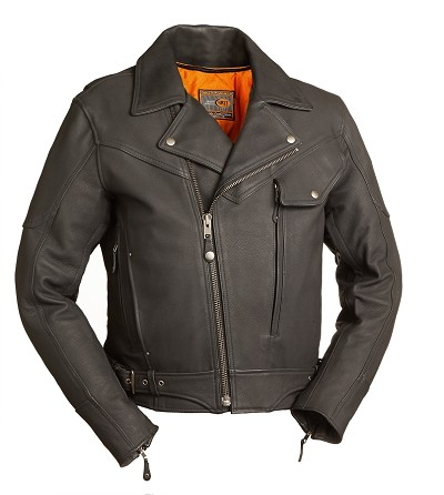 Mens Matte Black Leather Heavy Duty Motorcycle Jacket w Utility Pockets