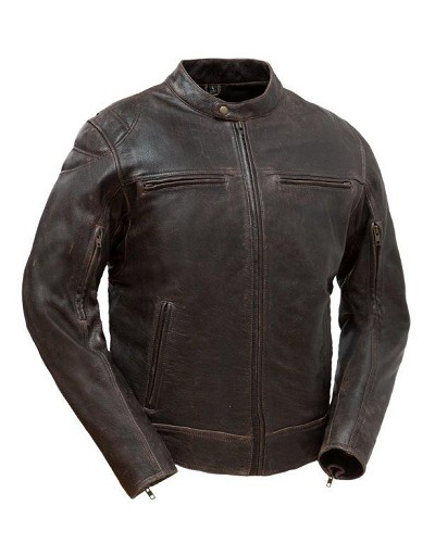 Mens Black Leather Vented Sporty Biker Jacket