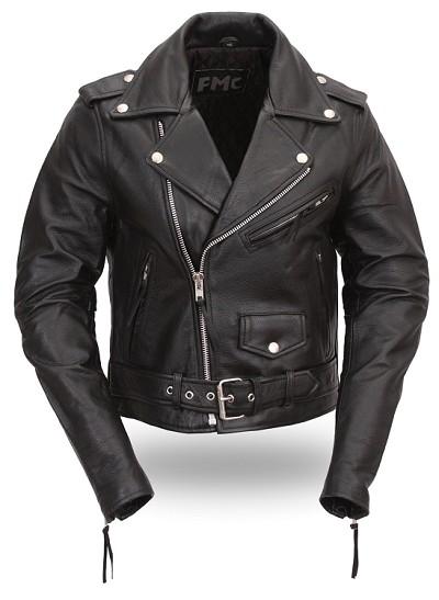Black Leather Motorcycle Biker Jacket w Half Belt