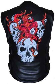 Mens Black Leather Reflective Flaming Skull Motorcycle Biker Vest