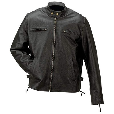 Men's Solid Black Leather Riding Jacket Fully Lined