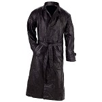 Mens Black Soft Leather Duster Trench Coat