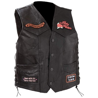 Ladies' Womens Black Leather Motorcycle Vest with Heart Wings Patch