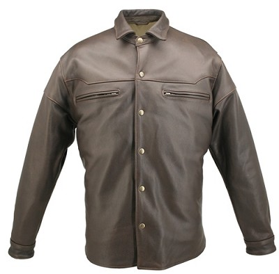 Men's Distressed Brown Leather Shirt