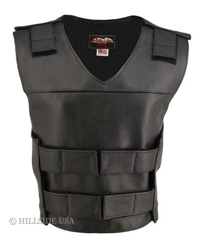 Womens Black Bulletproof Style Leather Vest
