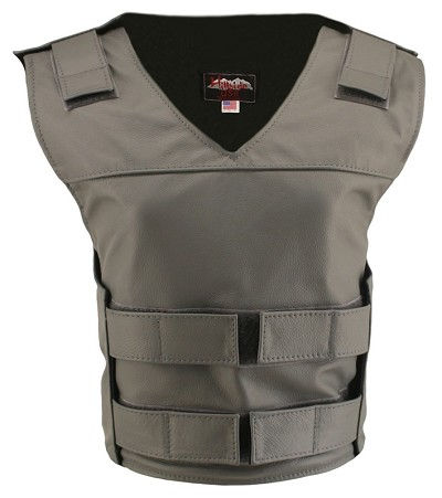 Womens Grey Bulletproof Style Leather Vest