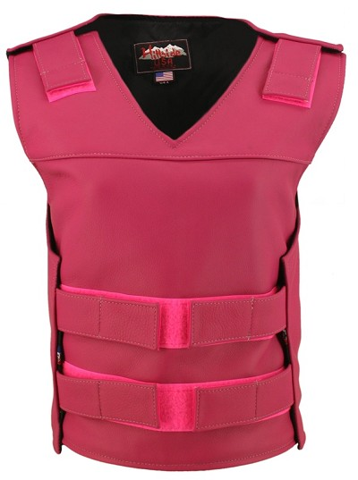 Womens Hot Pink Bulletproof Style Leather Vest