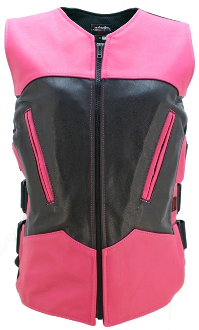 Womens Two Tone Interceptor Leather Vest Black/Hot Pink