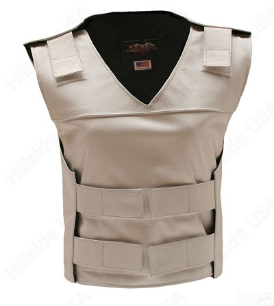 Womens White Bulletproof Style Leather Vest