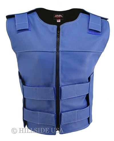 Womens Blue Zippered Bulletproof Style Leather Vest