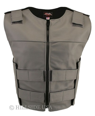 Womens Grey Zippered Bulletproof Style Leather Vest