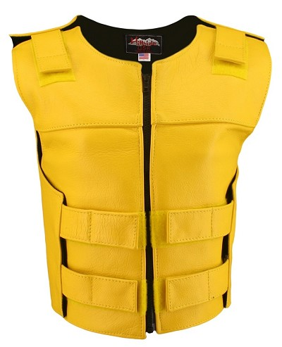 Womens Yellow Zippered Bulletproof Style Leather Vest