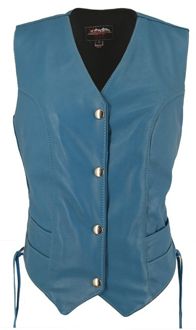Womens Turquoise Leather Biker Motorcycle Vest