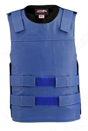 Mens Pullover Bulletproof Style Leather Vest Royal Blue