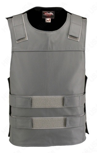 Men's Zippered Bulletproof Style Leather Vest - Grey