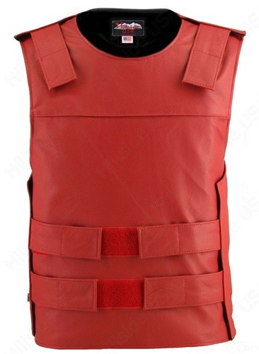 Men's Zippered Tactical Style Leather Vest - Red