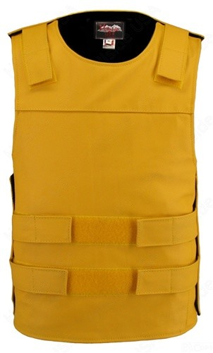 Men's Bulletproof Style Leather Vest - Yellow