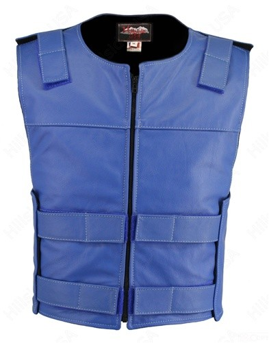 Men's Zippered Tactical Style Leather Vest - Blue