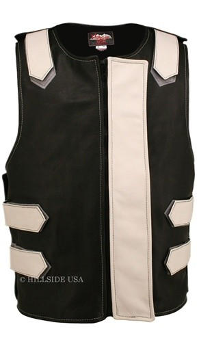 Leather Bulletproof Style Vest - Removable Flap - Black / White