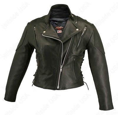Womens Women's Vented Black Leather Biker Jacket