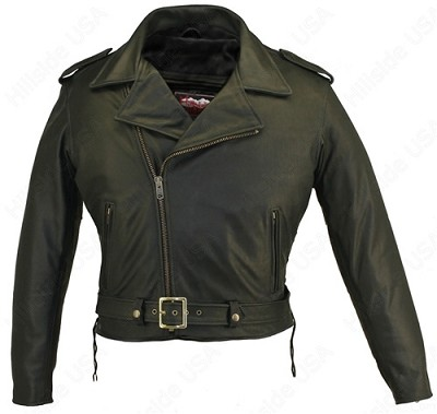 Men's Full Belted Black Leather Biker Motorcycle Jacket Gun Pockets