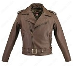 Men's Full Belted Brown Leather Biker Motorcycle Jacket w Gun Pockets