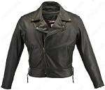 Men's Beltless Black Leather Biker Jacket with Concealed Gun Pockets