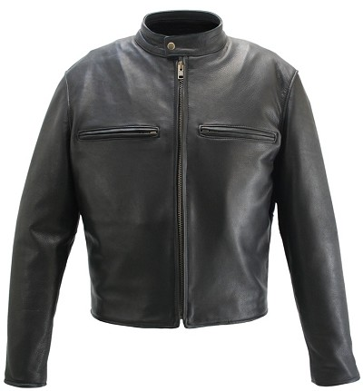 Men's Cafe Racer Black Leather Motorcycle Jacket with Gun Pockets