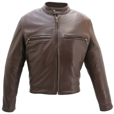 Men's Cafe Racer Brown Leather Motorcycle Jacket with Gun Pockets