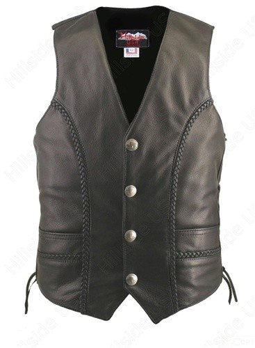 Men's Braided Black Buffalo Nickel Biker Vest - Gun Pockets