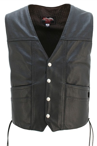 Mens Full Perforated Cruiser Leather Vest Concealed Gun Pockets
