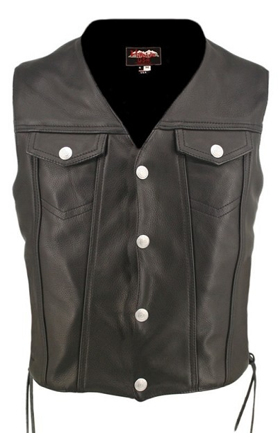Mens Denim Style Lace Leather Motorcycle Vest - Gun Pockets
