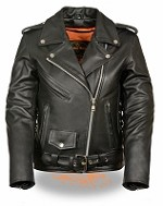Ladies Black Leather Traditional Police Style Motorcycle Jacket